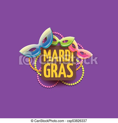 vector new orleans mardi gras vector background with carnival mask and text. vector mardi gras party or fat tuesday purple poster design template - csp53826337