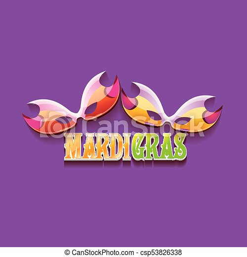 vector new orleans mardi gras vector background with carnival mask and text. vector mardi gras party or fat tuesday purple poster design template - csp53826338