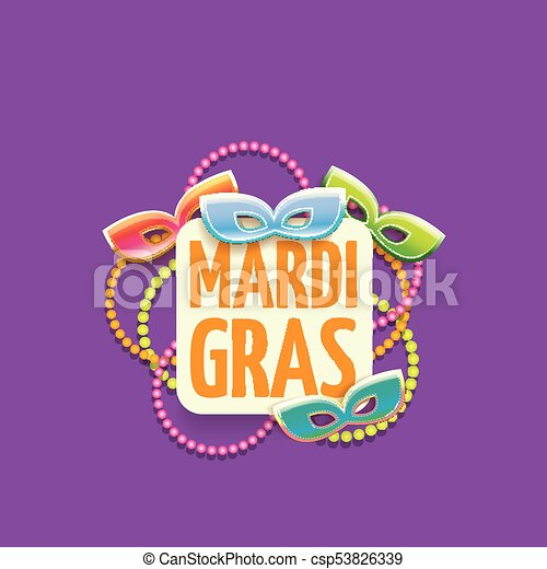 vector new orleans mardi gras vector background with carnival mask and text. vector mardi gras party or fat tuesday purple poster design template - csp53826339