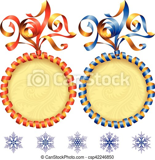 vector new year 2017 circle frame set red and blue streamer