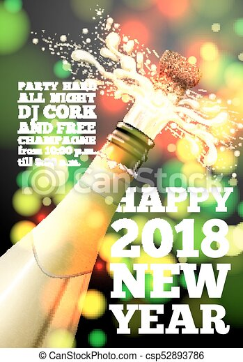 vector new year banner with champagne bottle on bright background with blurred xmas tree