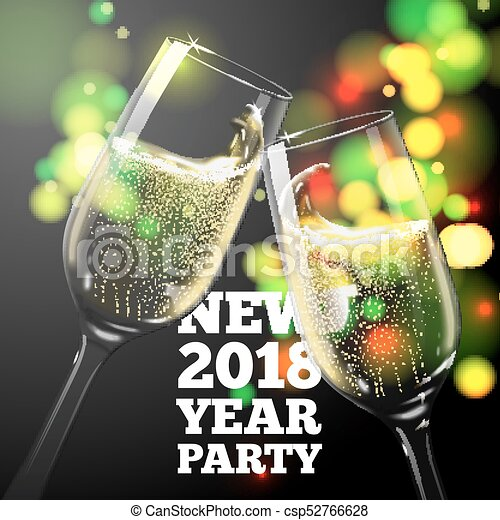 vector new year banner with transparent champagne glasses on bright background with blurred xmas tree