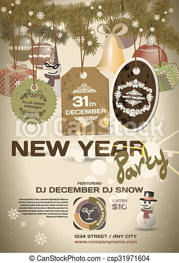 Vector New Year Party Invitation Vintage Style Vector Template With