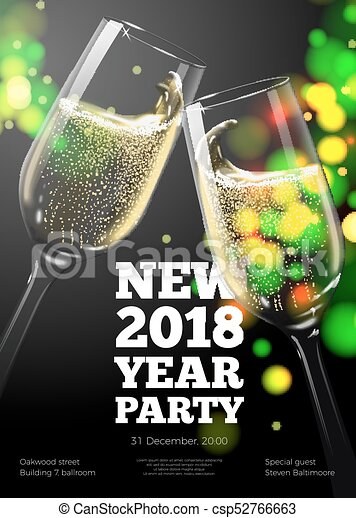 vector new year poster invitation template with transparent champagne glasses on bright background with blurred xmas tree