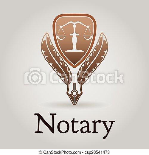 Logotipo vectorial para organización legal, notaria. - csp28541473