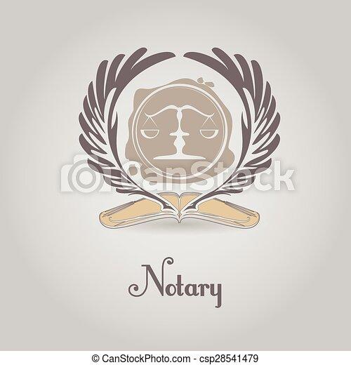 Logotipo vectorial para organización legal, notaria. - csp28541479