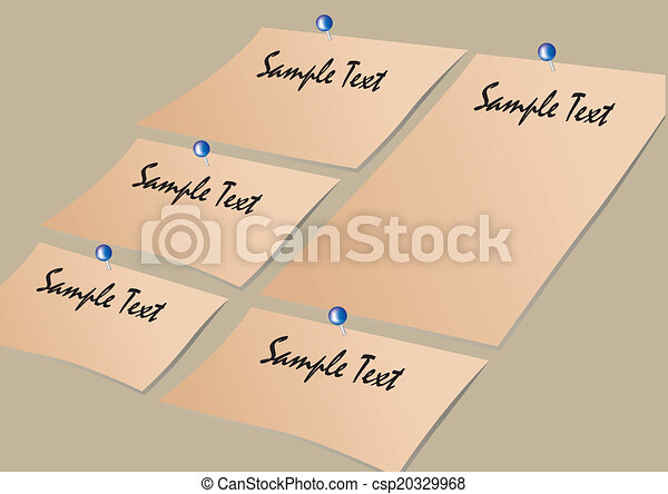 Vector note paper and pins layout - csp20329968
