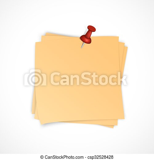 Vector note paper stack with pin - csp32528428