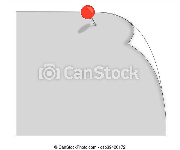 Vector Note Paper with pin on white background - csp39420172