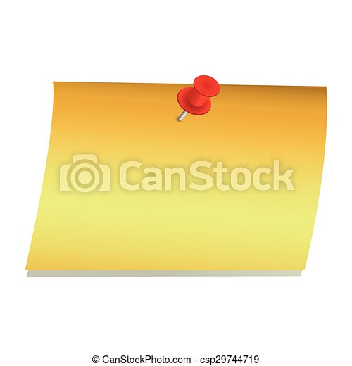 Vector Note Paper with pin  - csp29744719