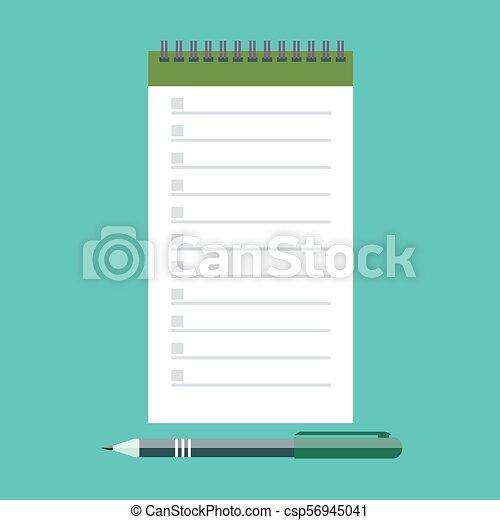 Vector notebook and pen - csp56945041