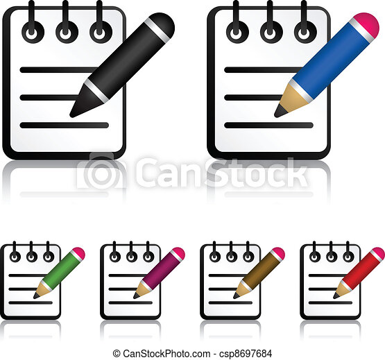 vector notepad with pencil icons eps vector search clip art rh canstockphoto com notepad clipart vector notepad clipart vector