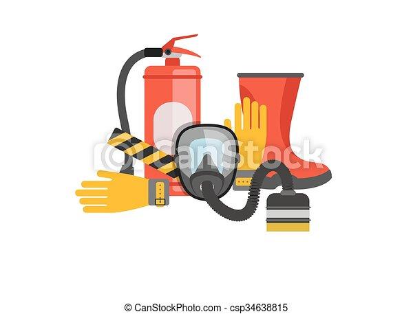 vector, o, conjunto, extinguisher., rescate, fuego, máscara, set., trabajo, bombero, fire., equipo, seguridad protección, rescuer., gas, tools. - csp34638815