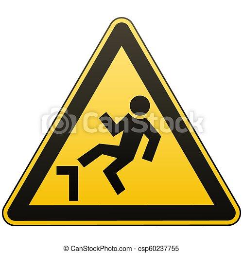 Cuidado, posible caída desde altura. La atención es peligrosa. Señal de advertencia. Medidas de seguridad. Triángulo amarillo con una imagen negra. Objeto aislado en fondo blanco. Ilustraciones de vectores. - csp60237755