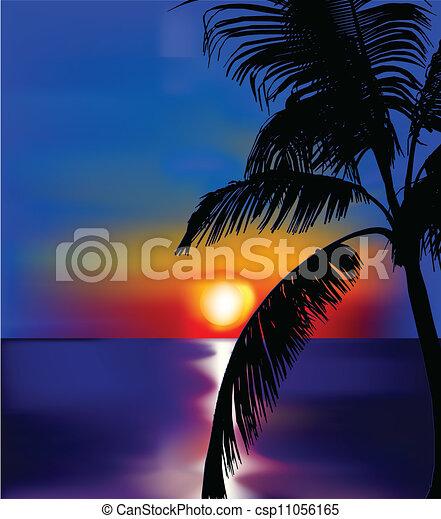 Atardecer en el mar con palma. Vector - csp11056165