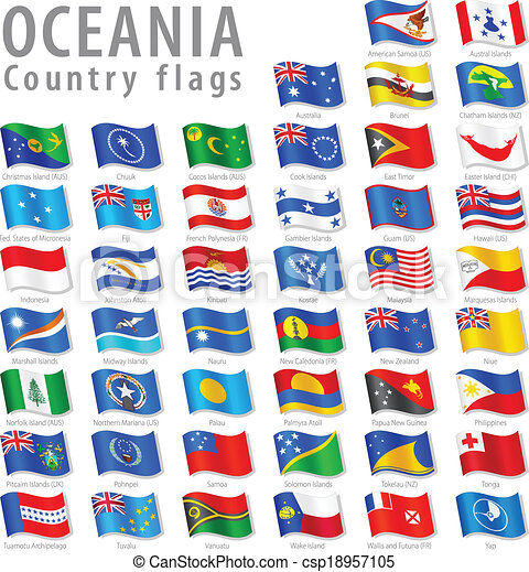 Vector Oceanian National Flag Set - csp18957105