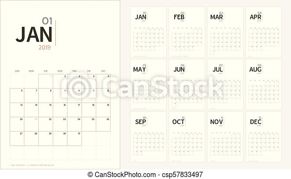 vector of 2019 new year calendar in minimal table simple style and organic tone colorholiday event plannerweek starts sundaya5 size