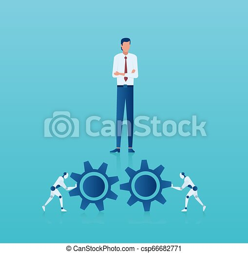 Vector of a business man managing new technology process implementation in corporate business - csp66682771