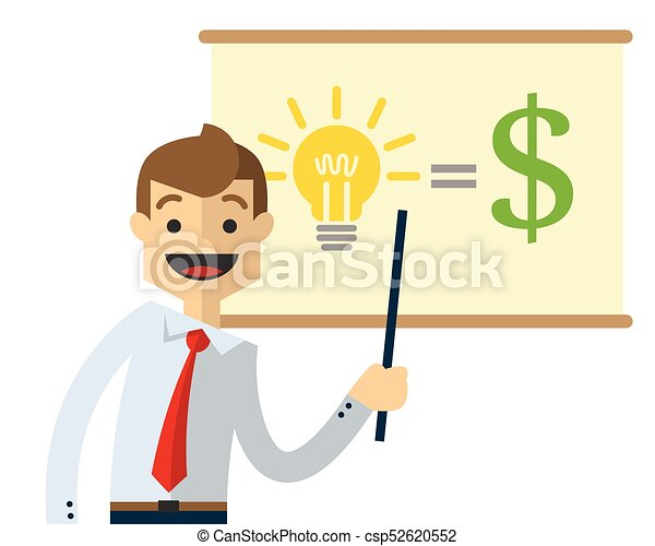 Vector of a businessman doing presentation - csp52620552