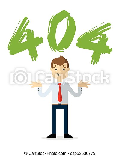 Vector of a businessman with a 404 error page - csp52530779