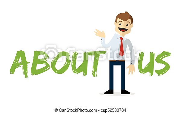 Vector of a businessman with About Us text - csp52530784