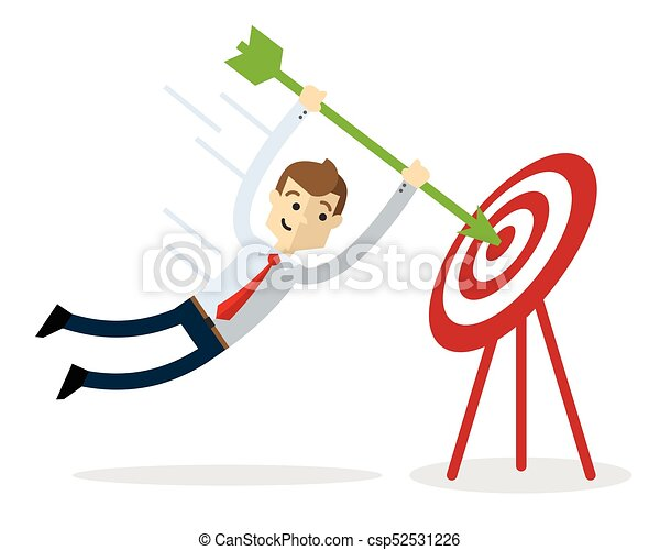 Vector of a businessman with an arrow and target - csp52531226