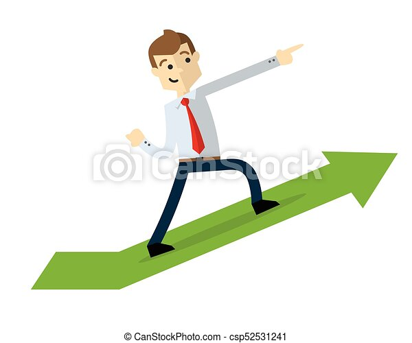 Vector of a businessman with arrow chart up - csp52531241