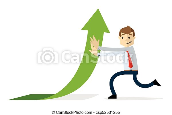 Vector of a businessman with arrow up - csp52531255