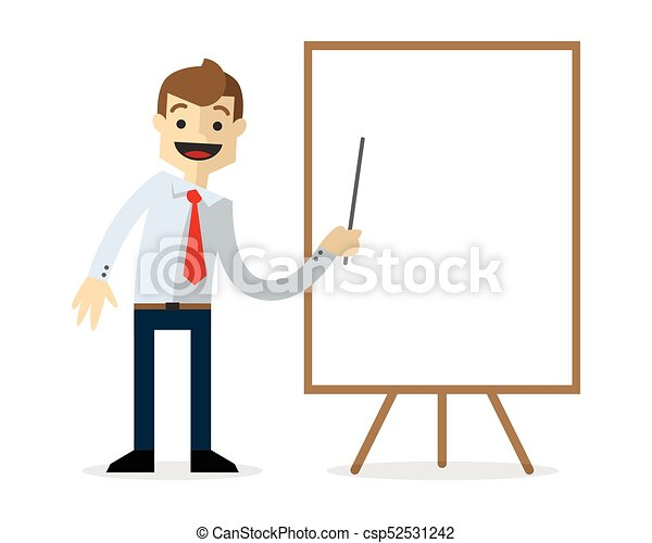 Vector of a businessman with blank white board - csp52531242