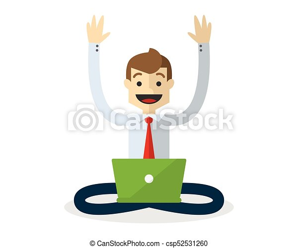 Vector of a businessman with his laptop - csp52531260