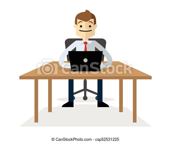 Vector of a businessman with his laptop 2 - csp52531225