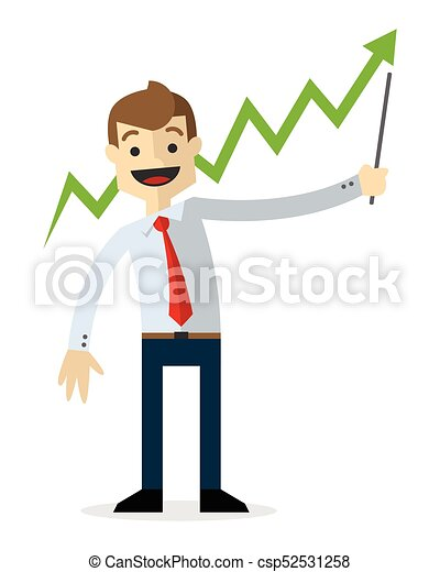 Vector of a businessman with line chart up 2 - csp52531258