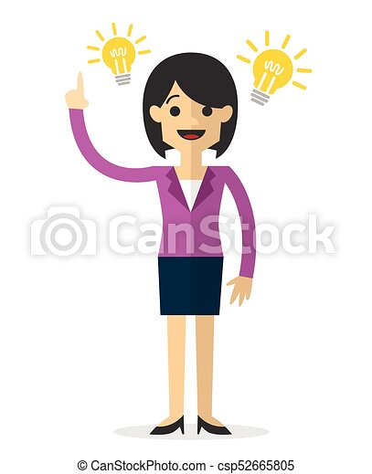 Vector of a businesswoman with an idea - csp52665805