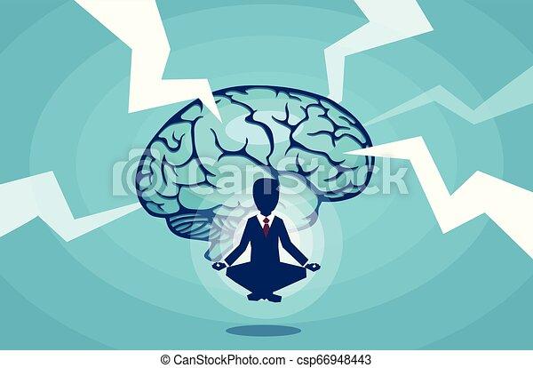 Vector of a meditating businessman brainstorming an idea - csp66948443