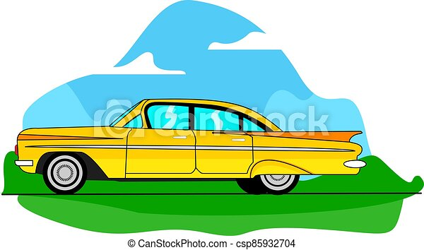 vector of a yellow classic car on the road - csp85932704