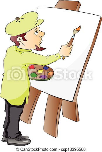 vector of an artist at work vector illustration of an artist