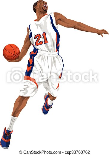 Vector Of Basketball Player Going For A Slam Dunk