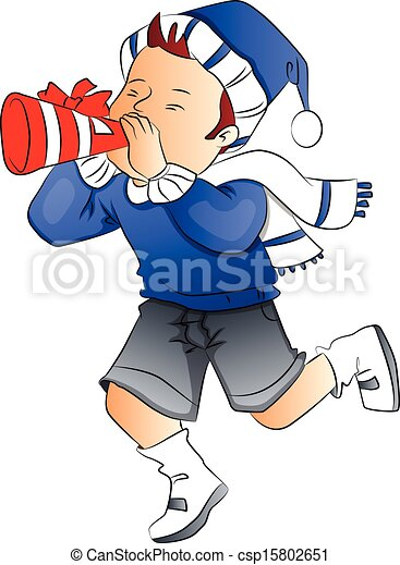 Vector Of Boy Blowing Party Horn Blower