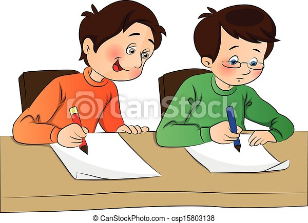 Vector of boy copying from other student's paper. - csp15803138