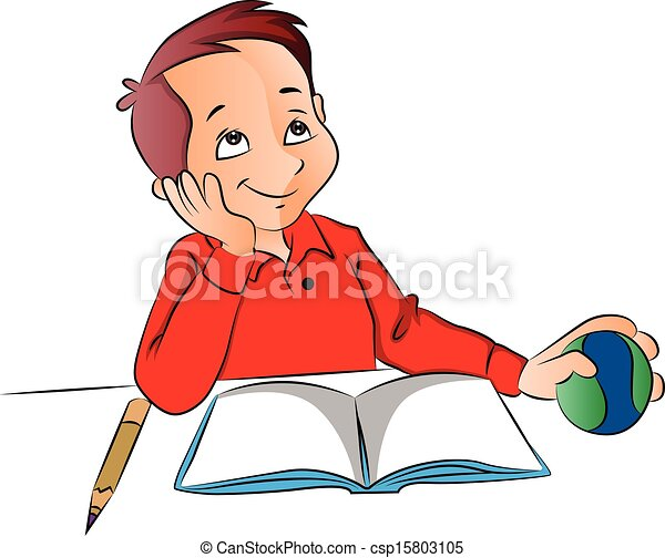 vector of boy dreaming with ball book and pencil on desk vector rh canstockphoto com child dreaming clipart dreaming clipart black and white