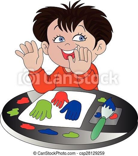 Vector of boy finger painting. - csp28129259