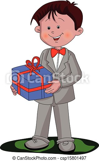 Vector of boy holding a gift box. - csp15801497