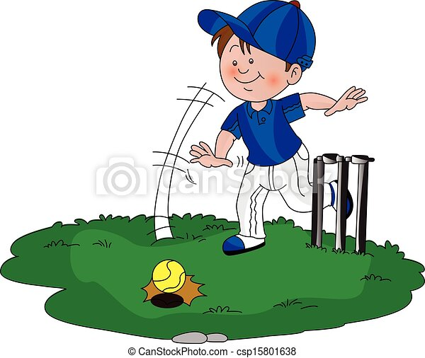 Vector of boy playing cricket. - csp15801638