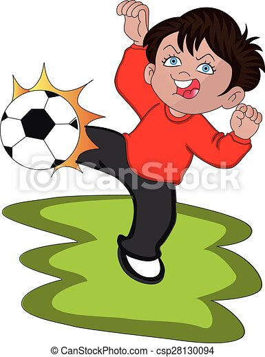 Vector of boy playing soccer. - csp28130094