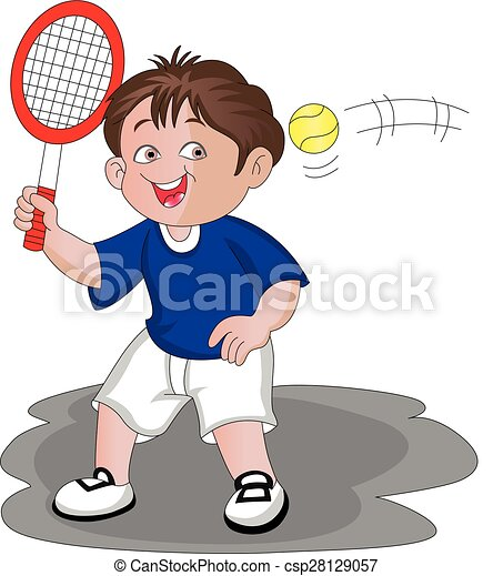 Vector of boy playing tennis. - csp28129057