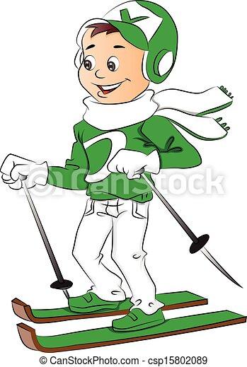 Vector of boy skiing. - csp15802089