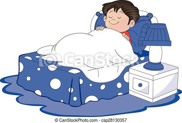 Vector of boy sleeping in bed. - csp28130357