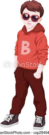 Vector of boy wearing sunglasses. - csp28494730