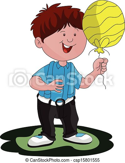 Vector of boy with balloon. - csp15801555