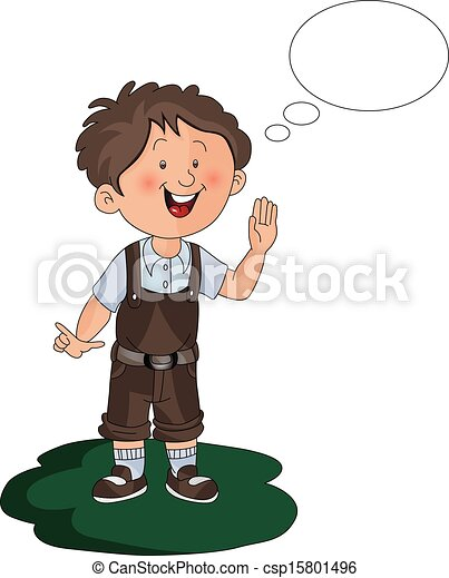 Vector of boy with thought bubble. - csp15801496